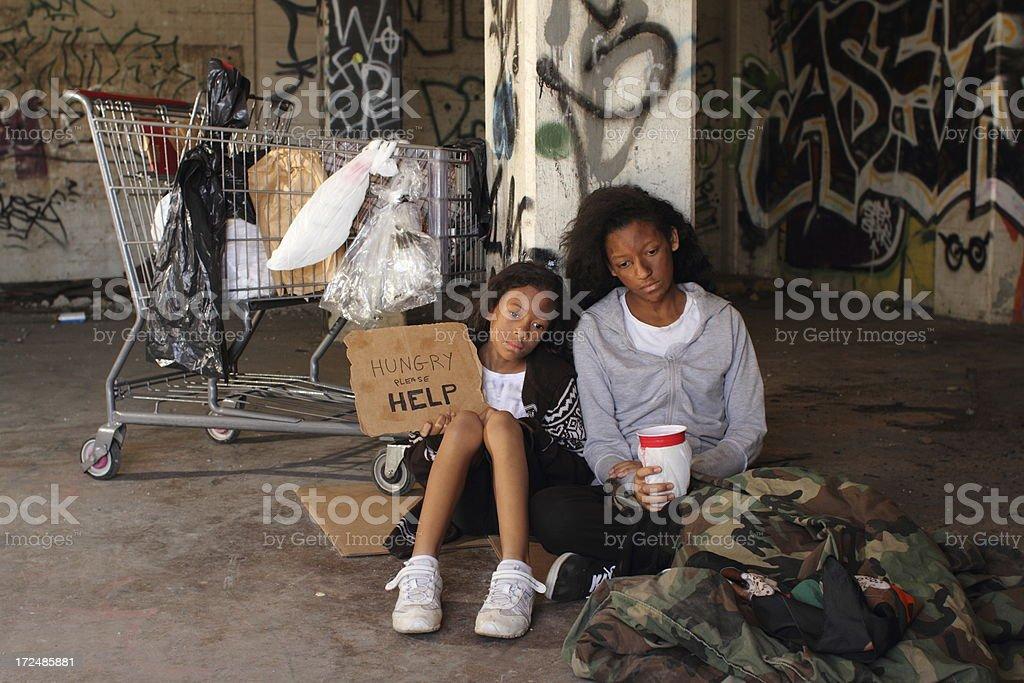 Homeless Girls Copy Space Left stock photo