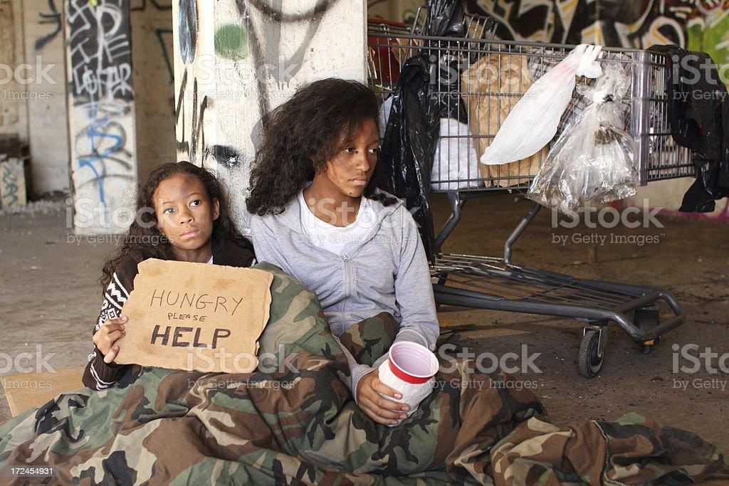 Homeless Girls Horizontal Copy Space Right stock photo