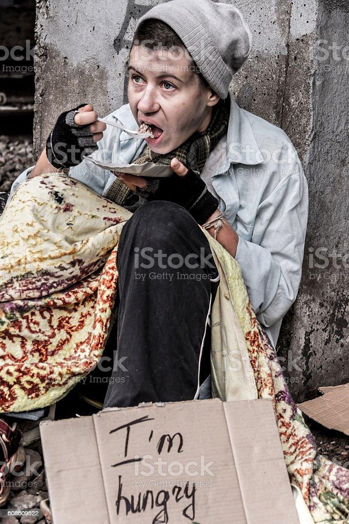 Homeless having meal stock photo