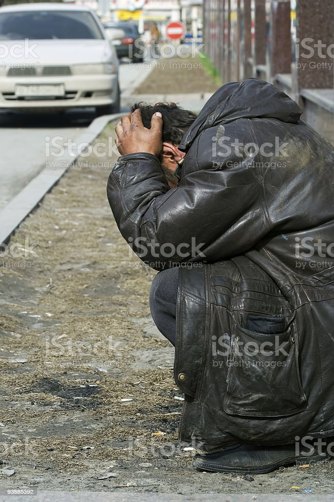 Homeless in depression royalty-free stock photo