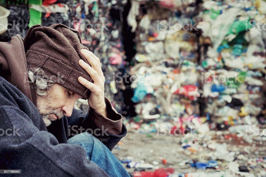Homeless in Landfill stock photo