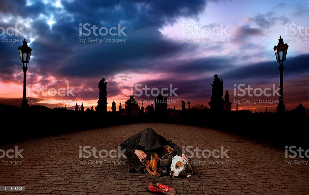 Homeless in Prague stock photo
