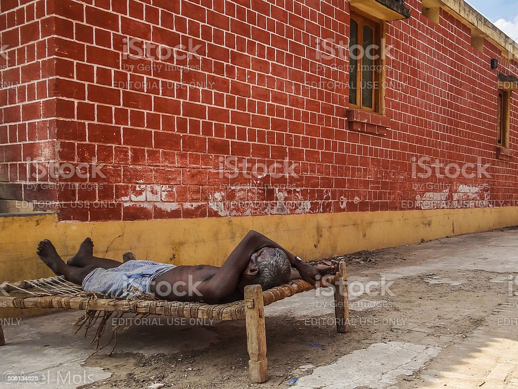 Homeless Indian in Bodh Gaya stock photo