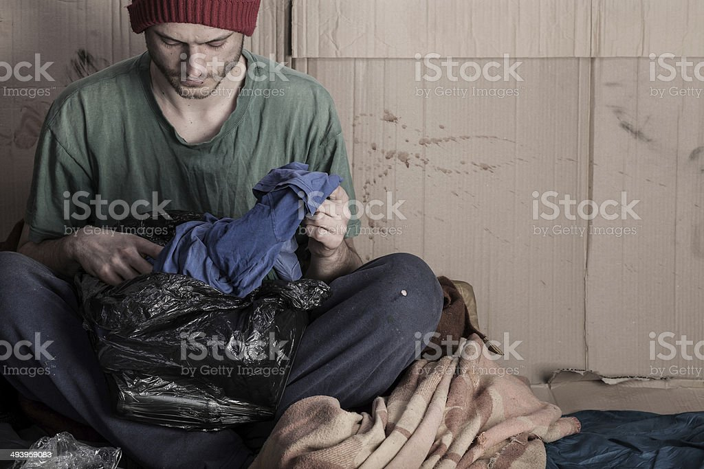 Homeless living on the street royalty-free stock photo