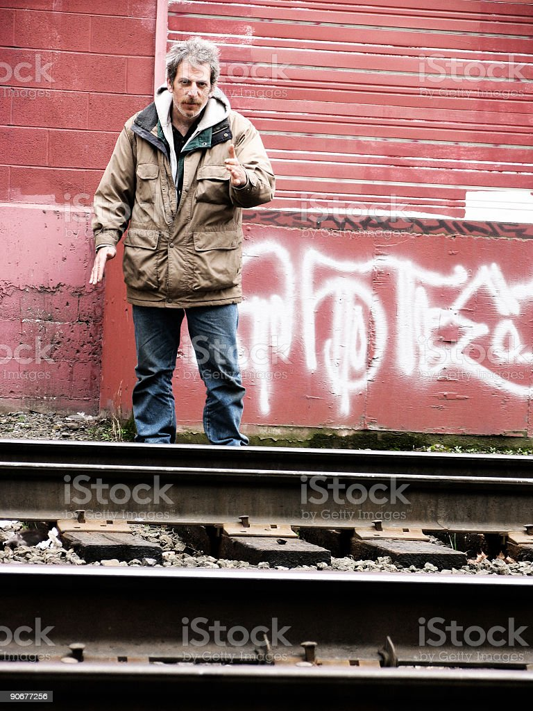 Homeless Male by old Railroad Tracks royalty-free stock photo