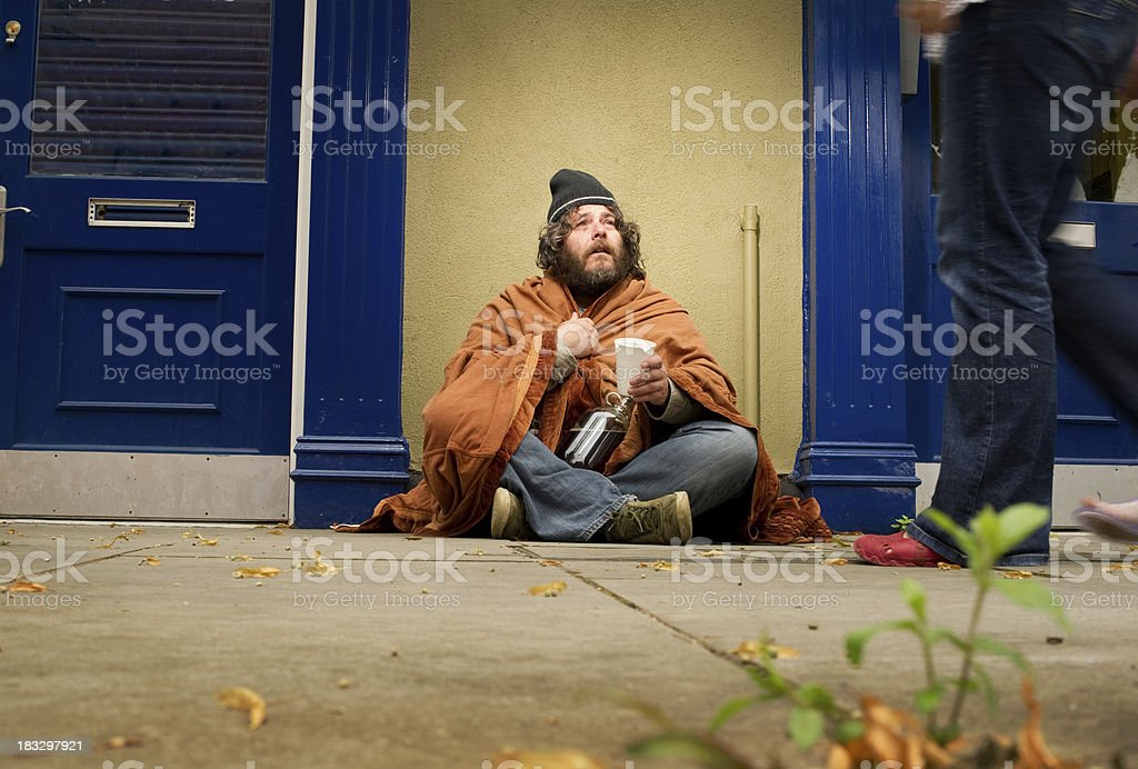 Homeless Man Begging for Spare Change royalty-free stock photo