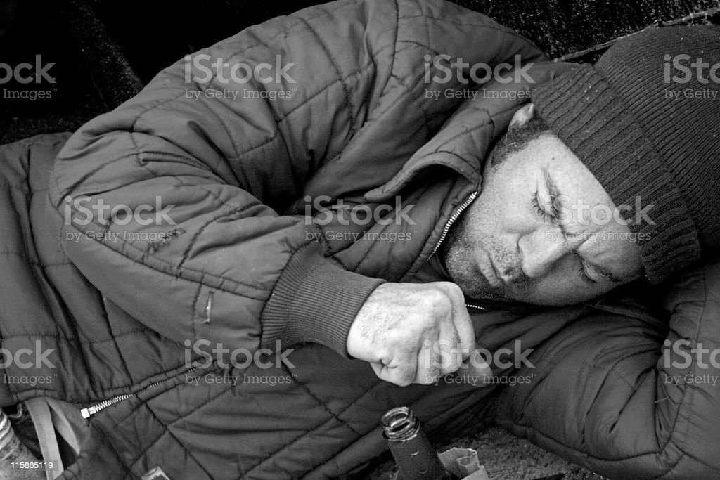Homeless Man - Coughing royalty-free stock photo