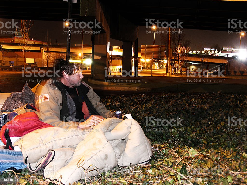 Homeless Man Drinking Beer royalty-free stock photo