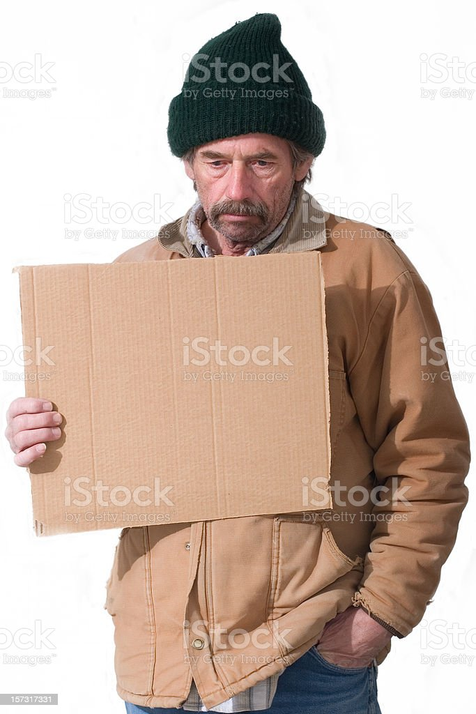 Homeless Man Holding Sign Isolated on White Background royalty-free stock photo
