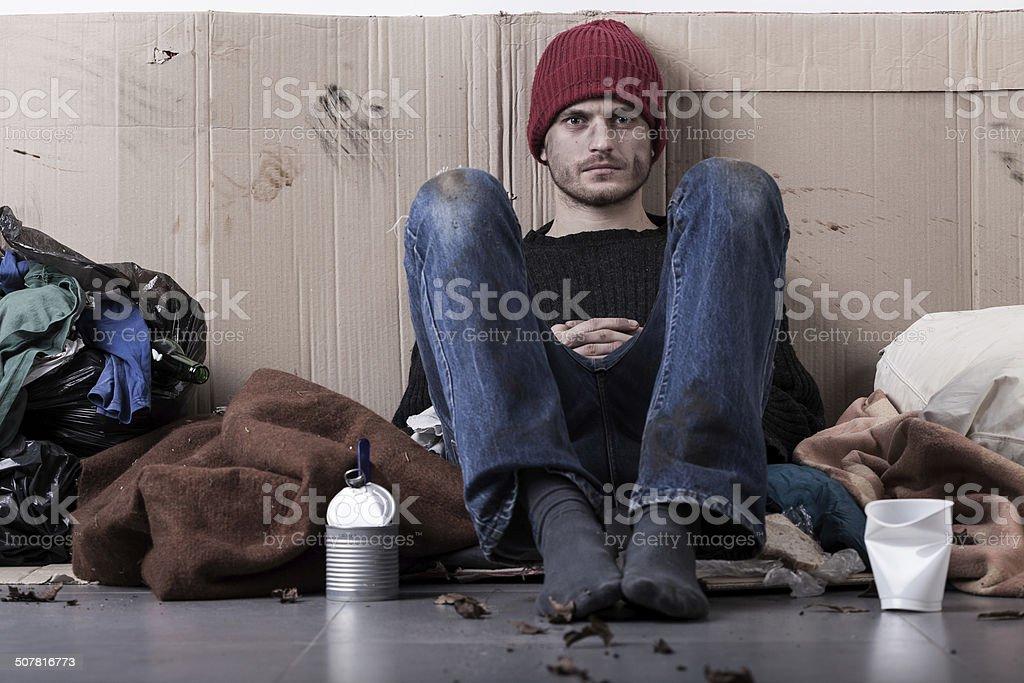 Homeless man living on the street stock photo