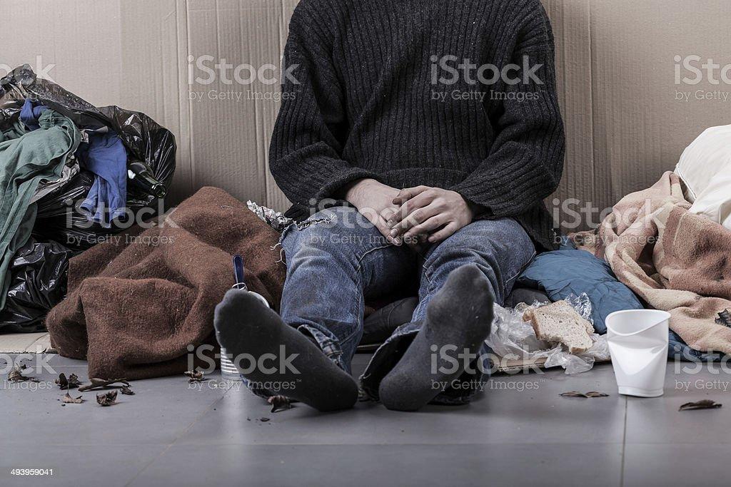 Homeless man on the street royalty-free stock photo
