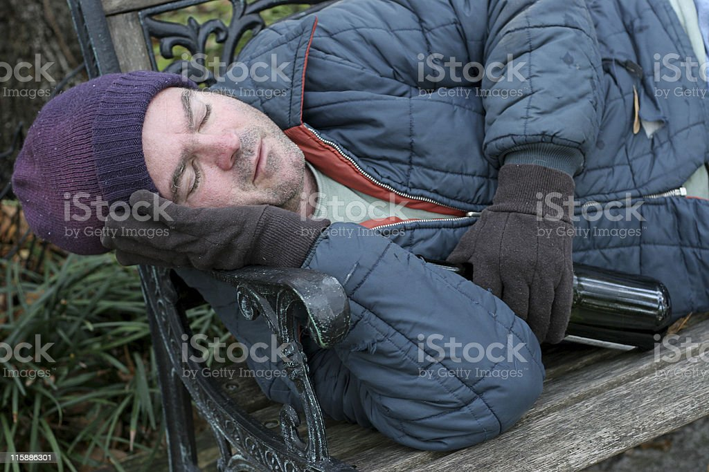 Homeless Man - Park Bench Closeup royalty-free stock photo