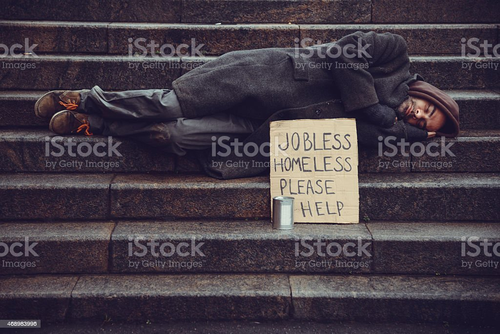 Homeless man stock photo