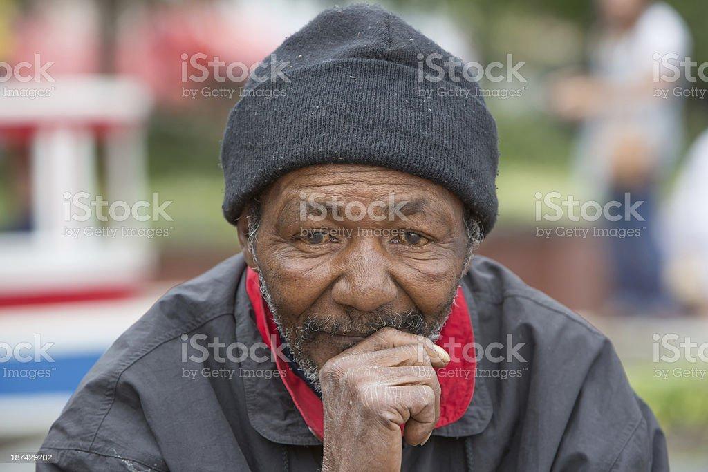 Homeless Man Thinking stock photo