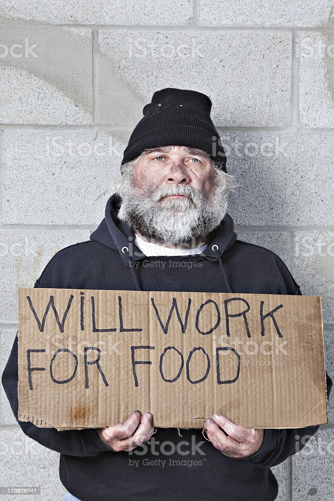 Homeless Man Will Work For Food royalty-free stock photo