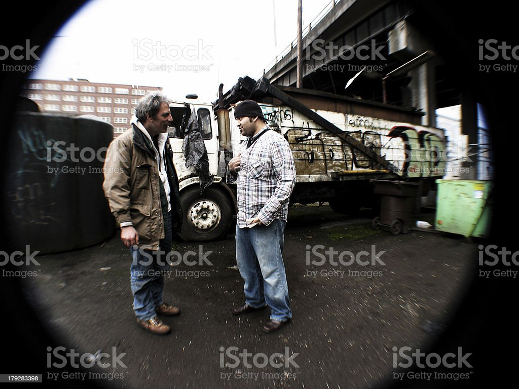 Homeless Man Witnessing a Message stock photo