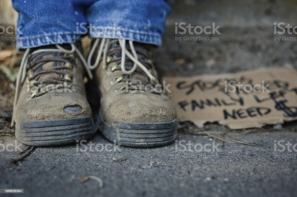 Homeless Man's Shoes stock photo