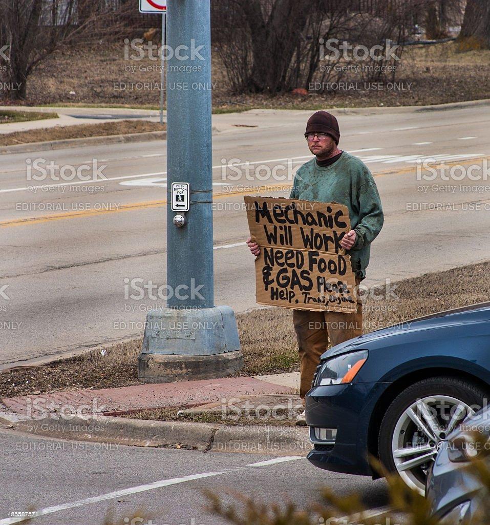 homeless mechanic in chicago suburbs stock photo