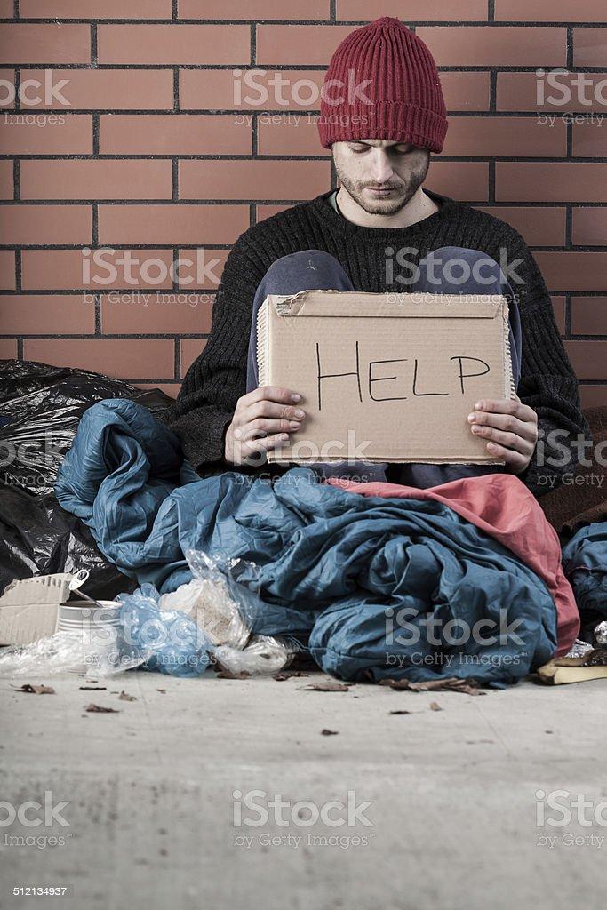 Homeless needs help stock photo