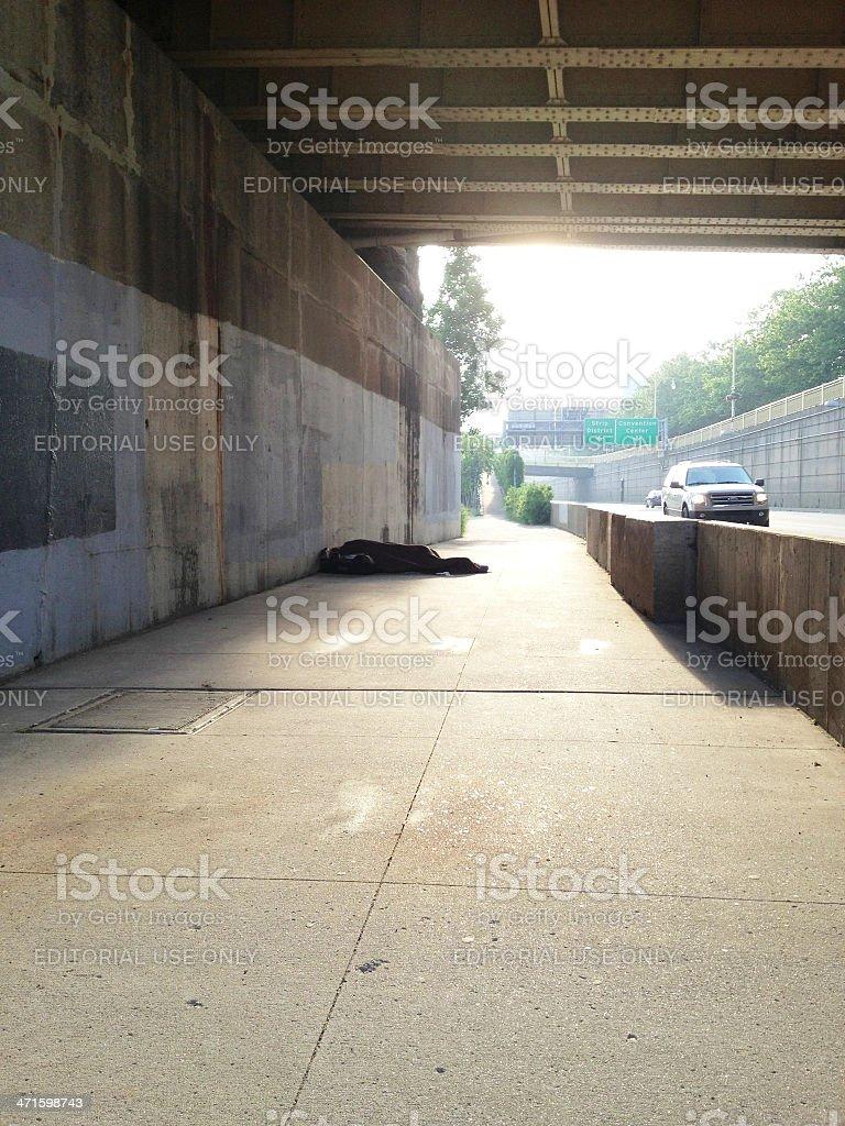 Homeless Person Sleeping royalty-free stock photo