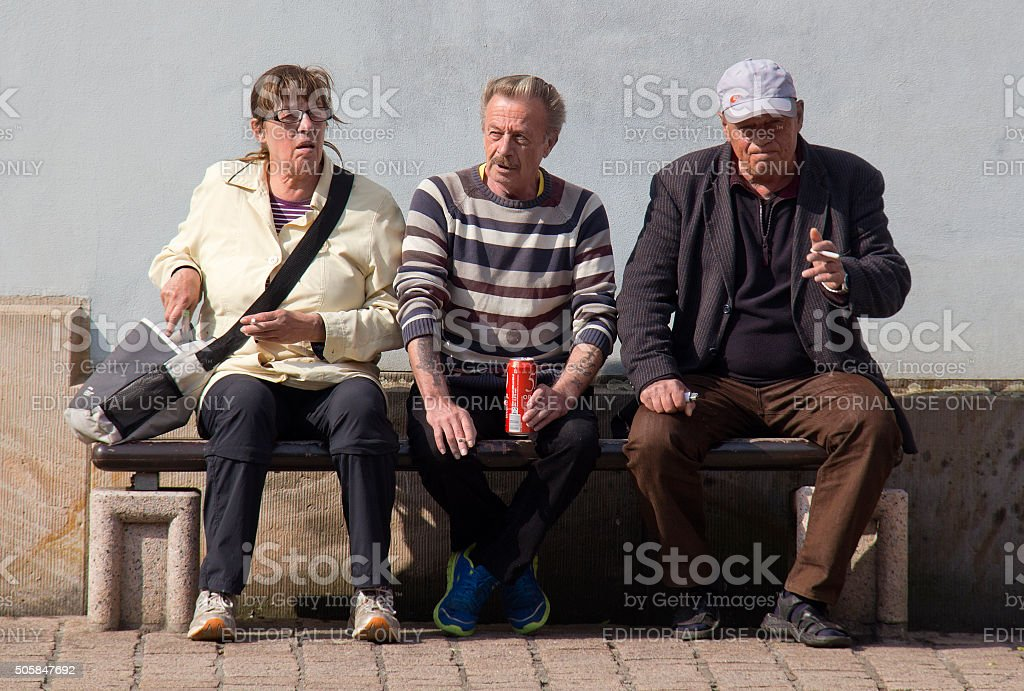 Homeless persons in Germany stock photo