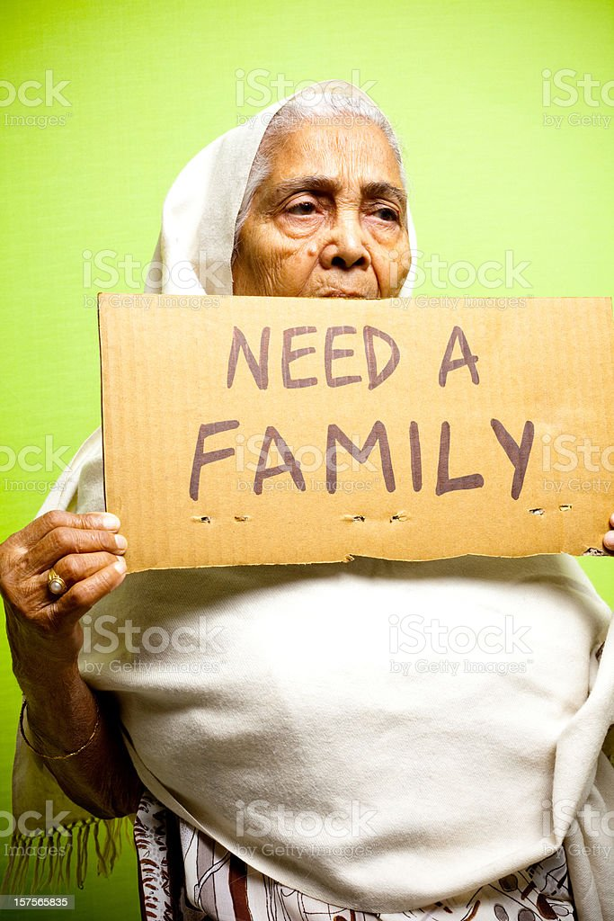 Homeless Senior Indian Woman Lady Female Grandmother Vertical royalty-free stock photo