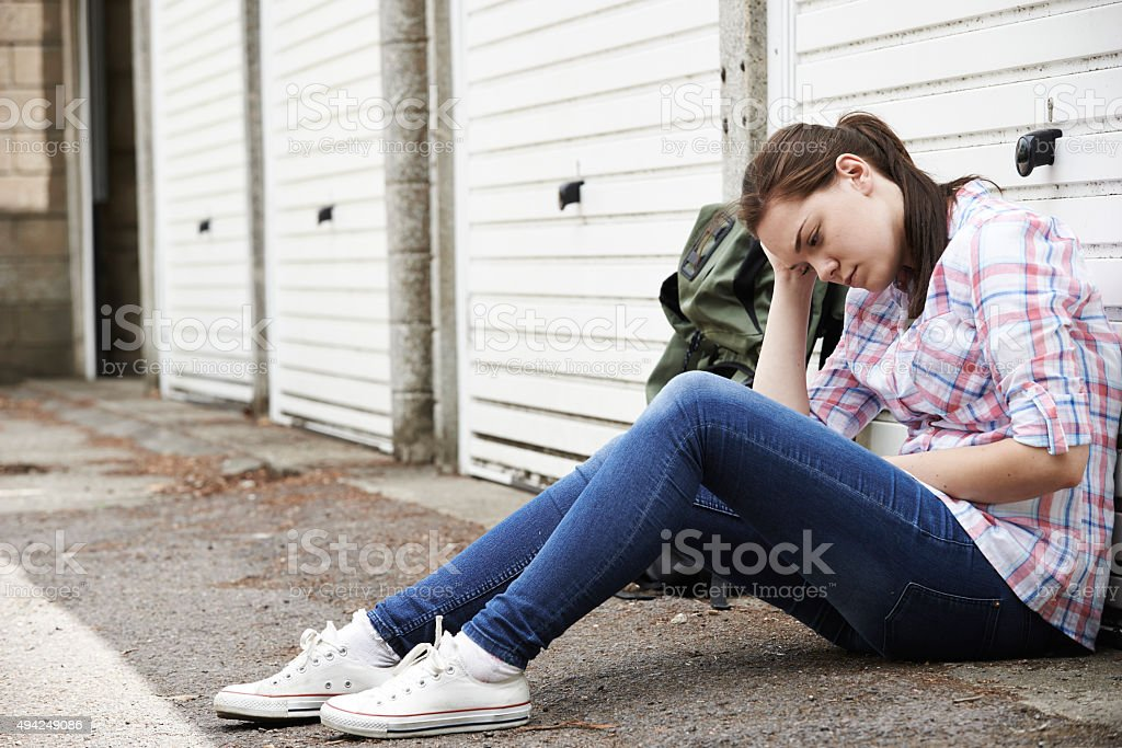 Homeless Teenage Girl On Streets With Rucksack stock photo