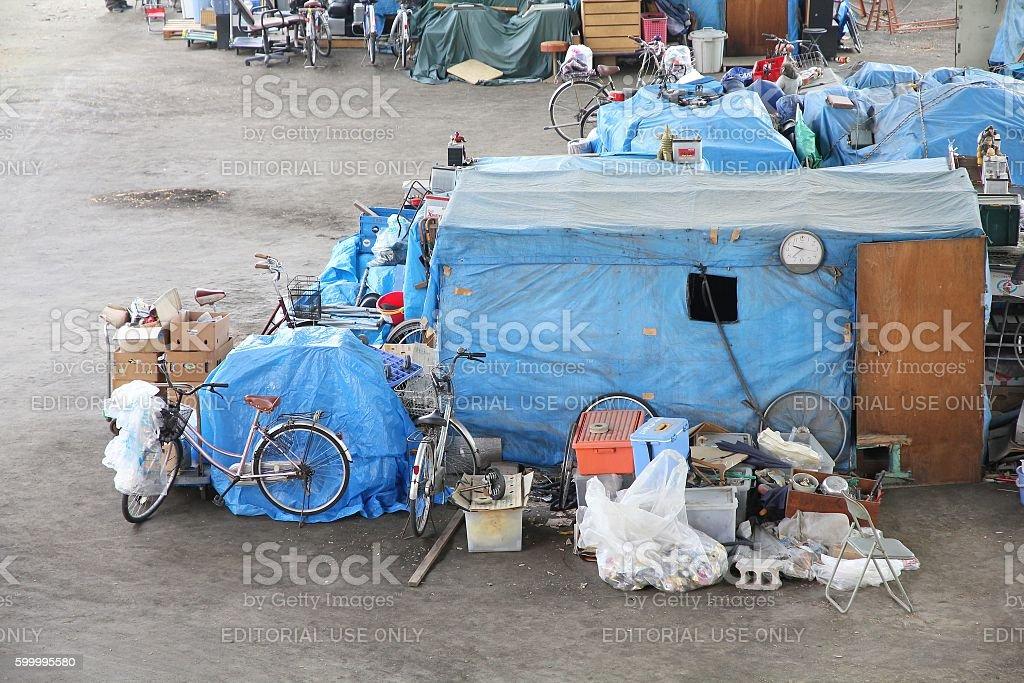 Homeless tents stock photo