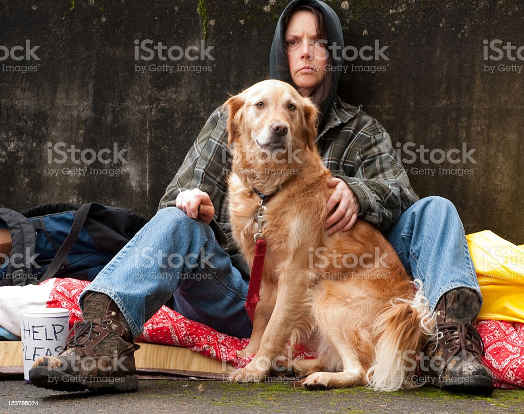 Homeless Woman And Dog royalty-free stock photo