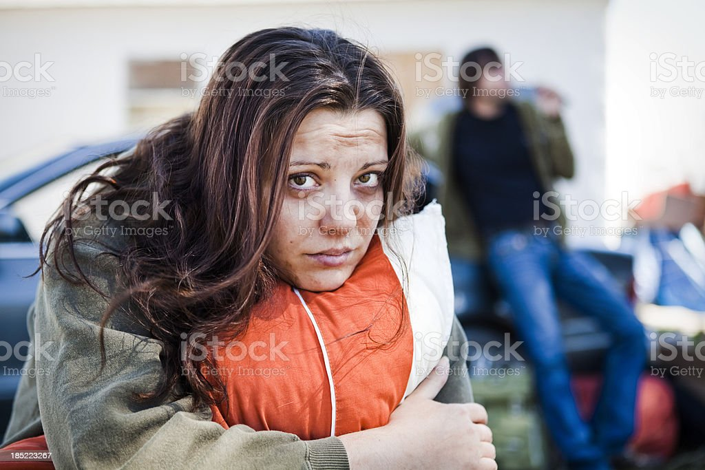 Homeless Woman and Man stock photo