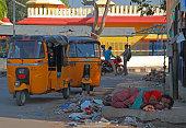 homeless woman is sleeping outdoor in Hyderabad, India