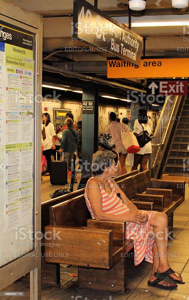 Homeless Woman on NYC Subway stock photo