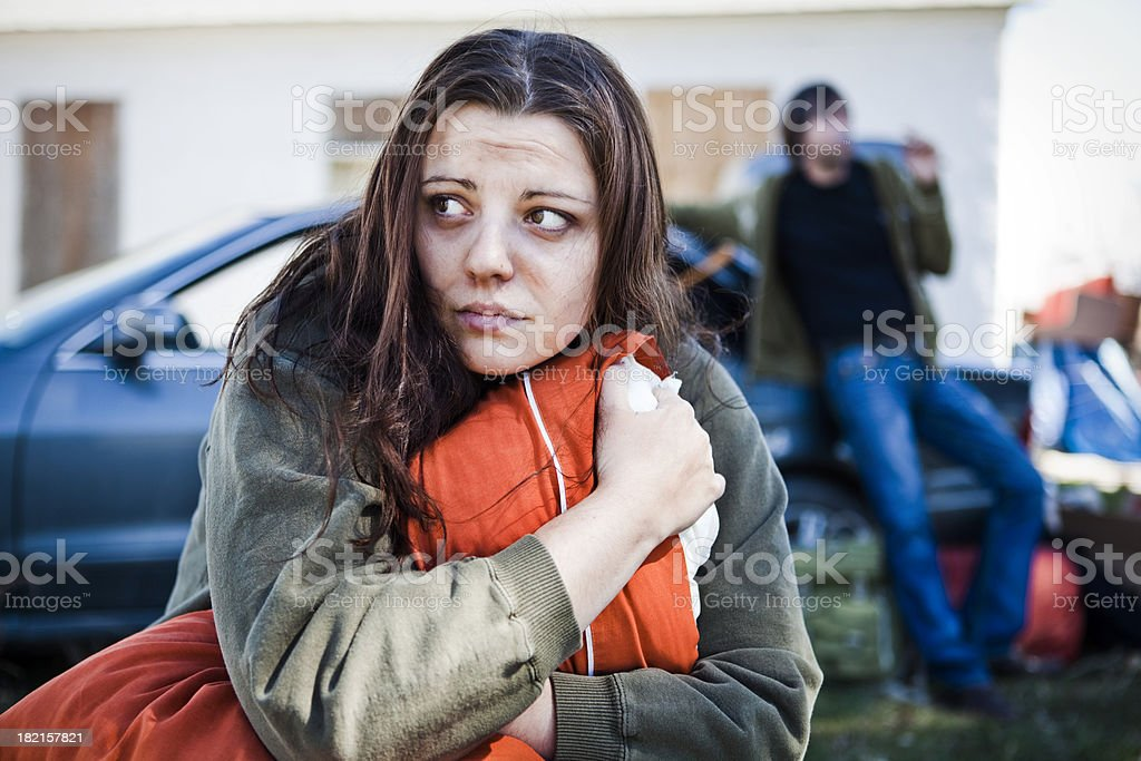 Homeless Woman stock photo