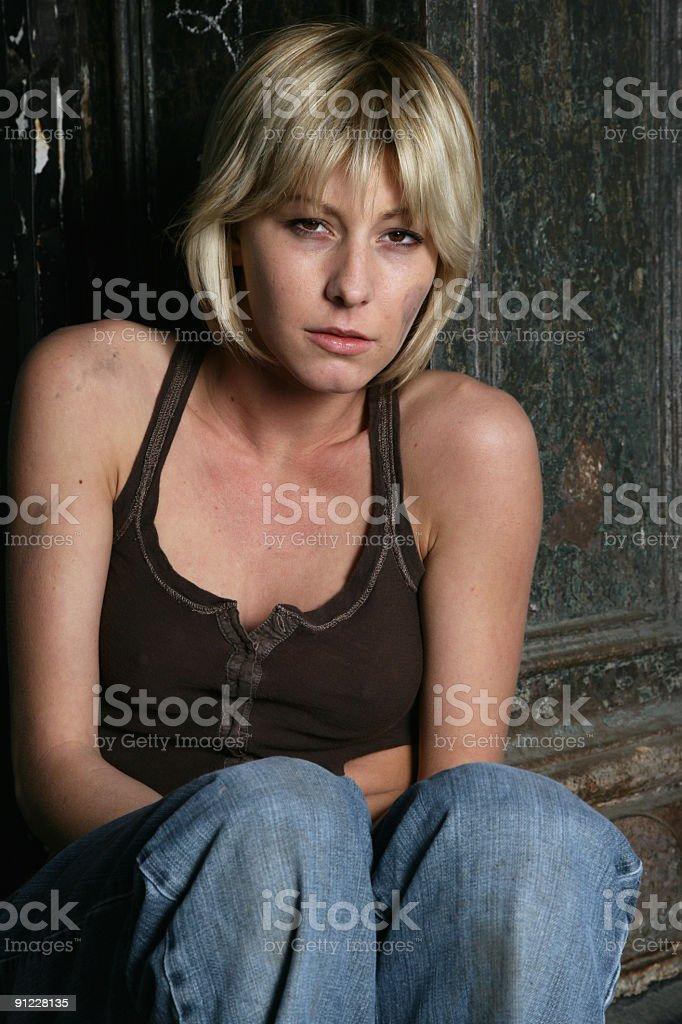 Homeless woman royalty-free stock photo