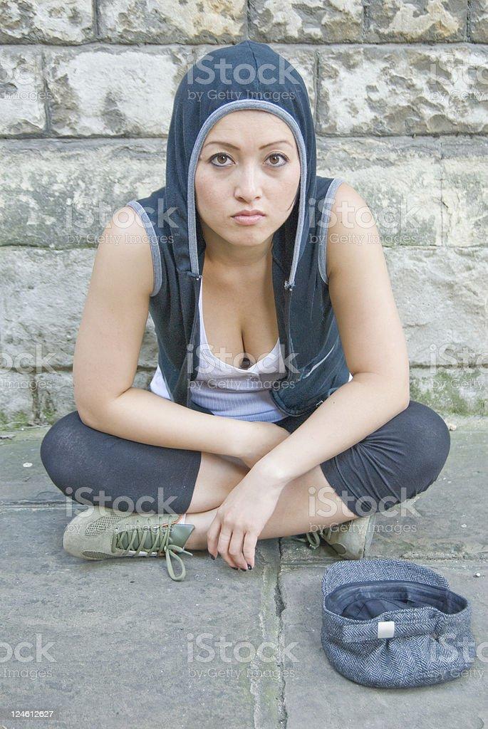 Homeless women on the street royalty-free stock photo