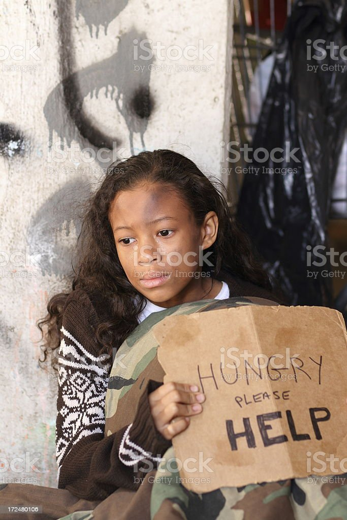 Homeless Young Girl Eyes Away Vertical royalty-free stock photo