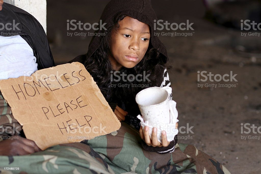 Homeless Young Girl With Cup Horizontal royalty-free stock photo