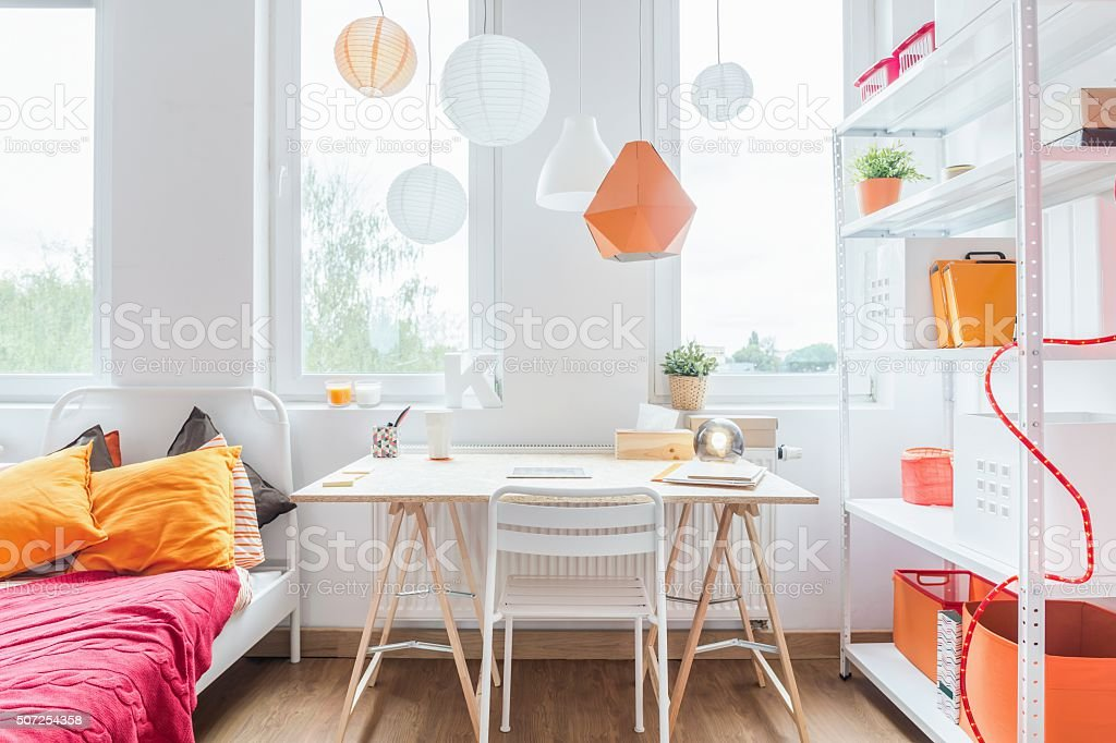 Homely girl's room stock photo