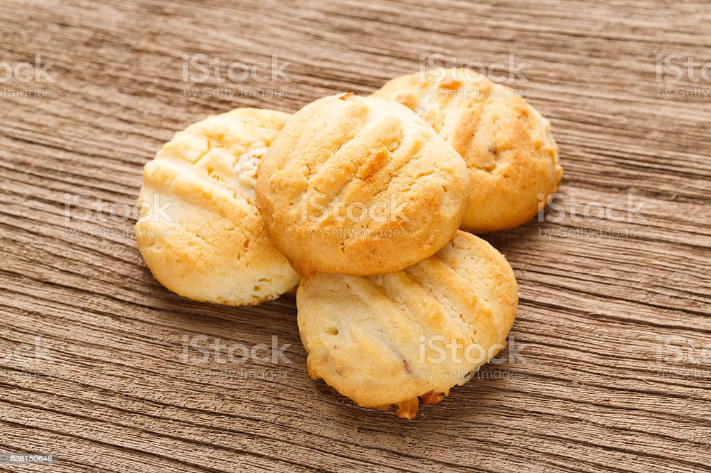 Homemade almond butter cookies stock photo