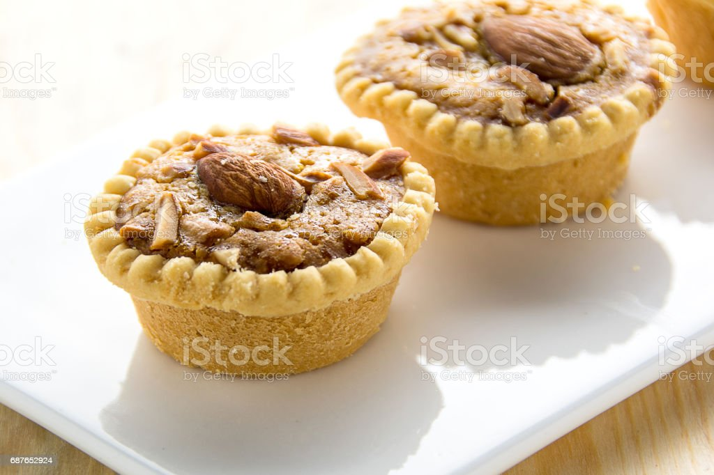 Homemade Almonds tart stock photo