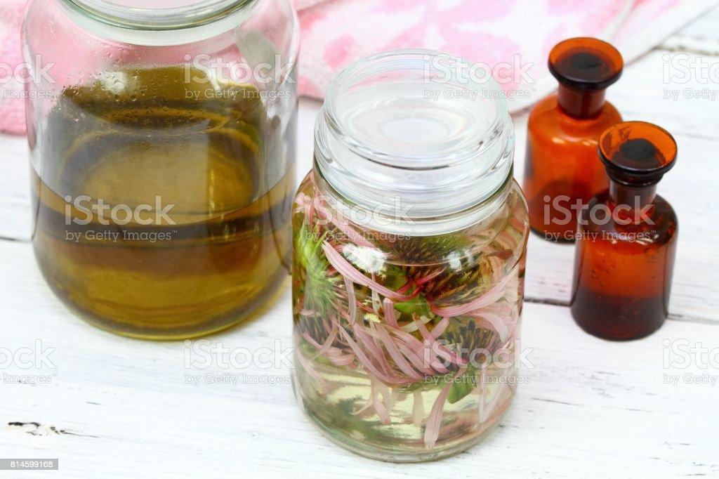 Homemade alternative medicine, Echinacea tincture in front stock photo