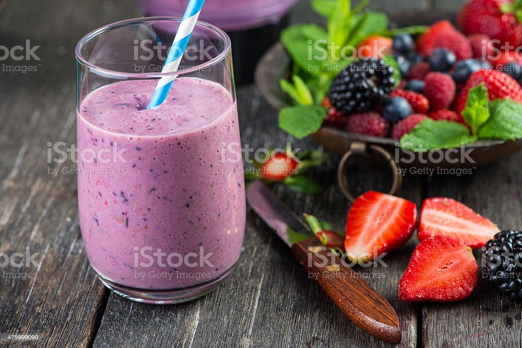Homemade antioxidant summer fruits smoothie stock photo