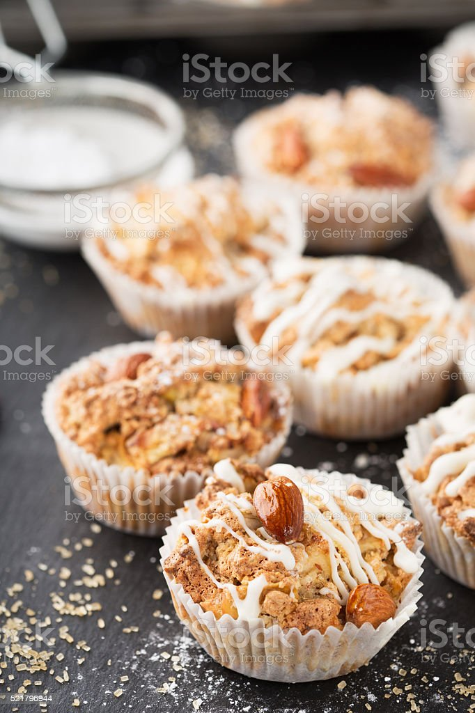 Homemade apple nut muffins stock photo