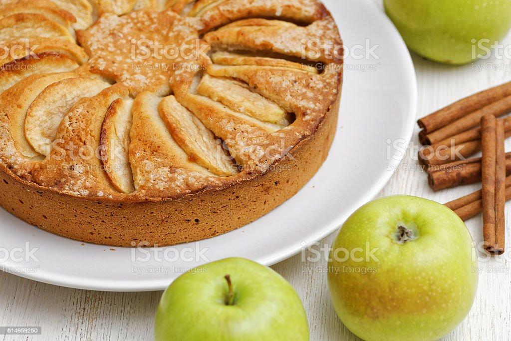 Homemade apple pie on white table stock photo
