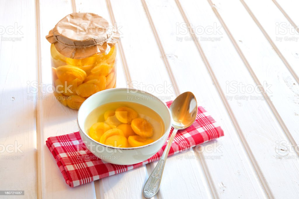 Homemade apricot compote royalty-free stock photo