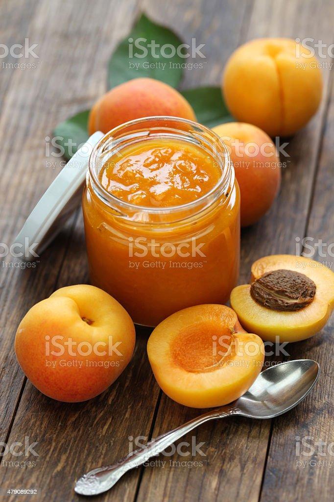 homemade apricot jam stock photo
