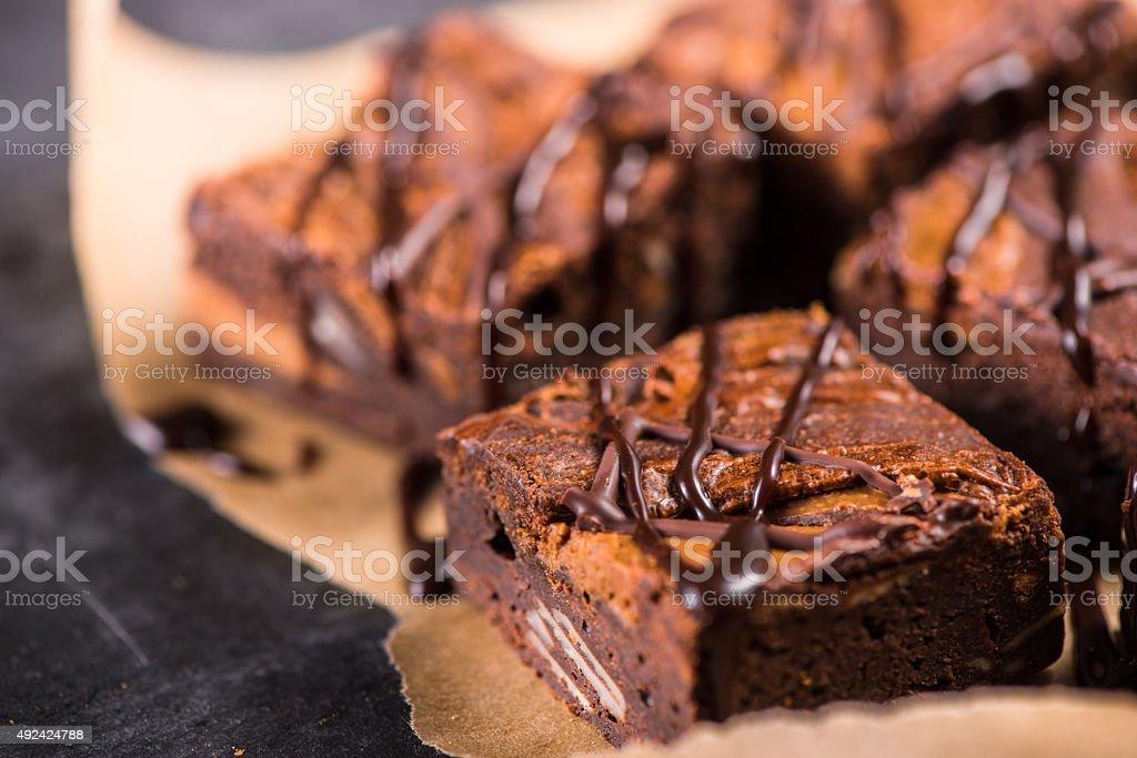Homemade artisan dark chocolate brownies stock photo