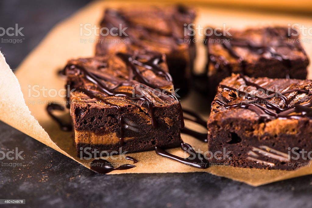 Homemade artisan dark chocolate brownies stock photo