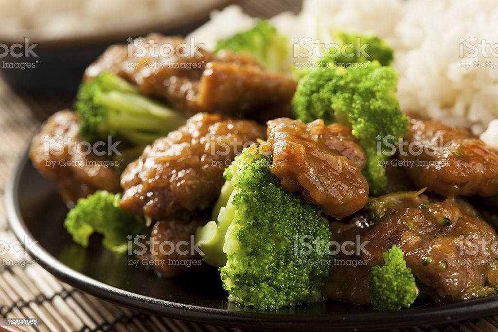 Homemade Asian Beef and Broccoli stock photo