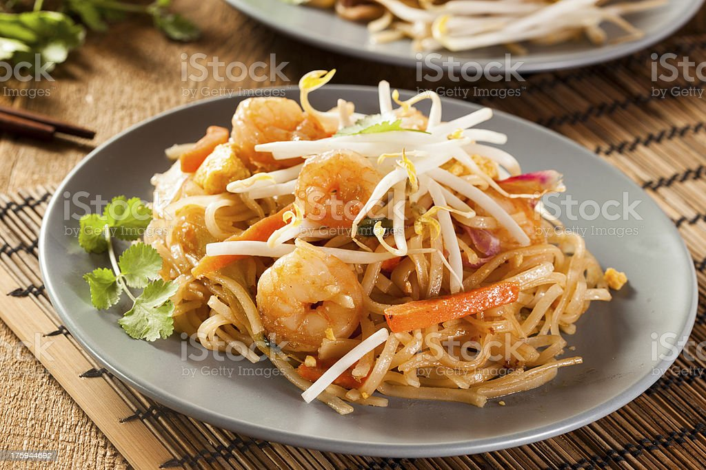 Homemade Asian Pad Thai stock photo